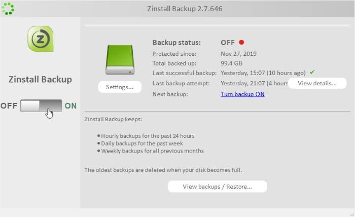 Zinstall Backup Switch