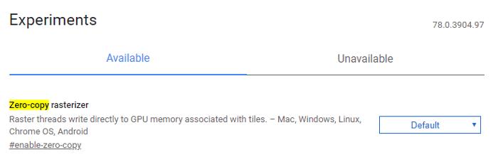 أفضل Chrome Flags Zero Copy Rasterizer