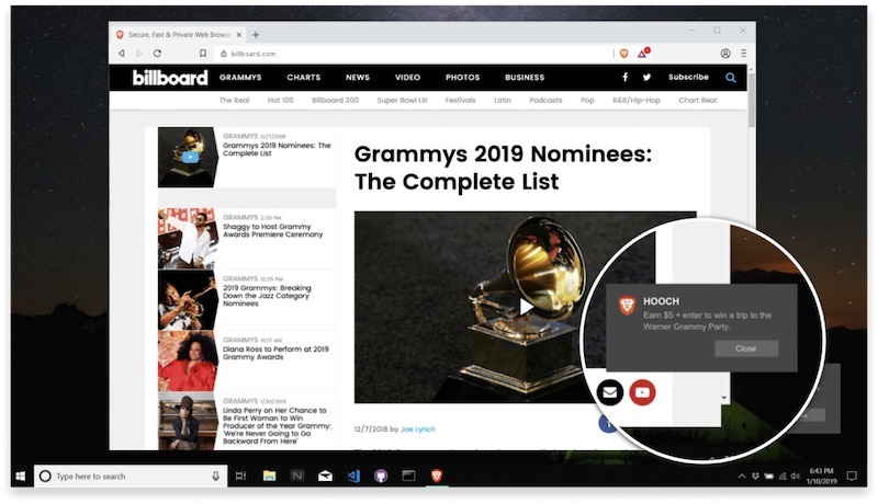 مكافآت متصفح Brave Chrome