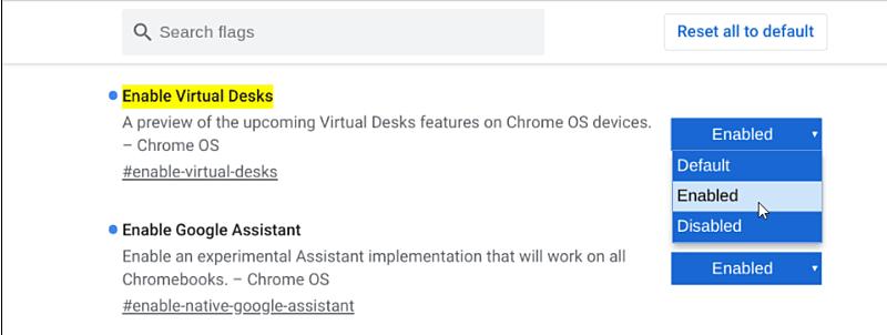 Chromeos Enable Virtual Desk