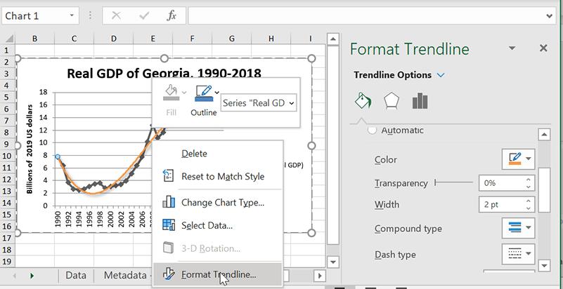Excel Format Trendlines