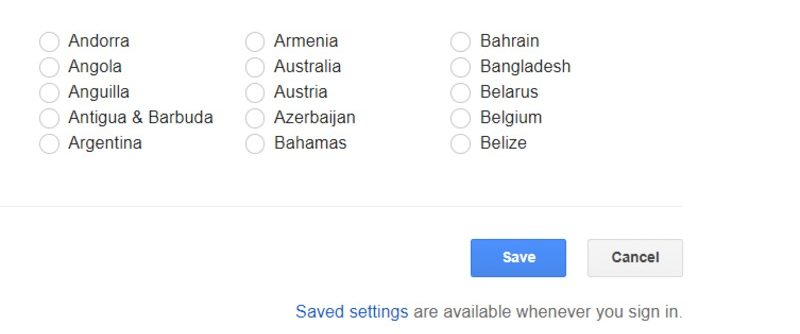 Google Search Preference Save Option