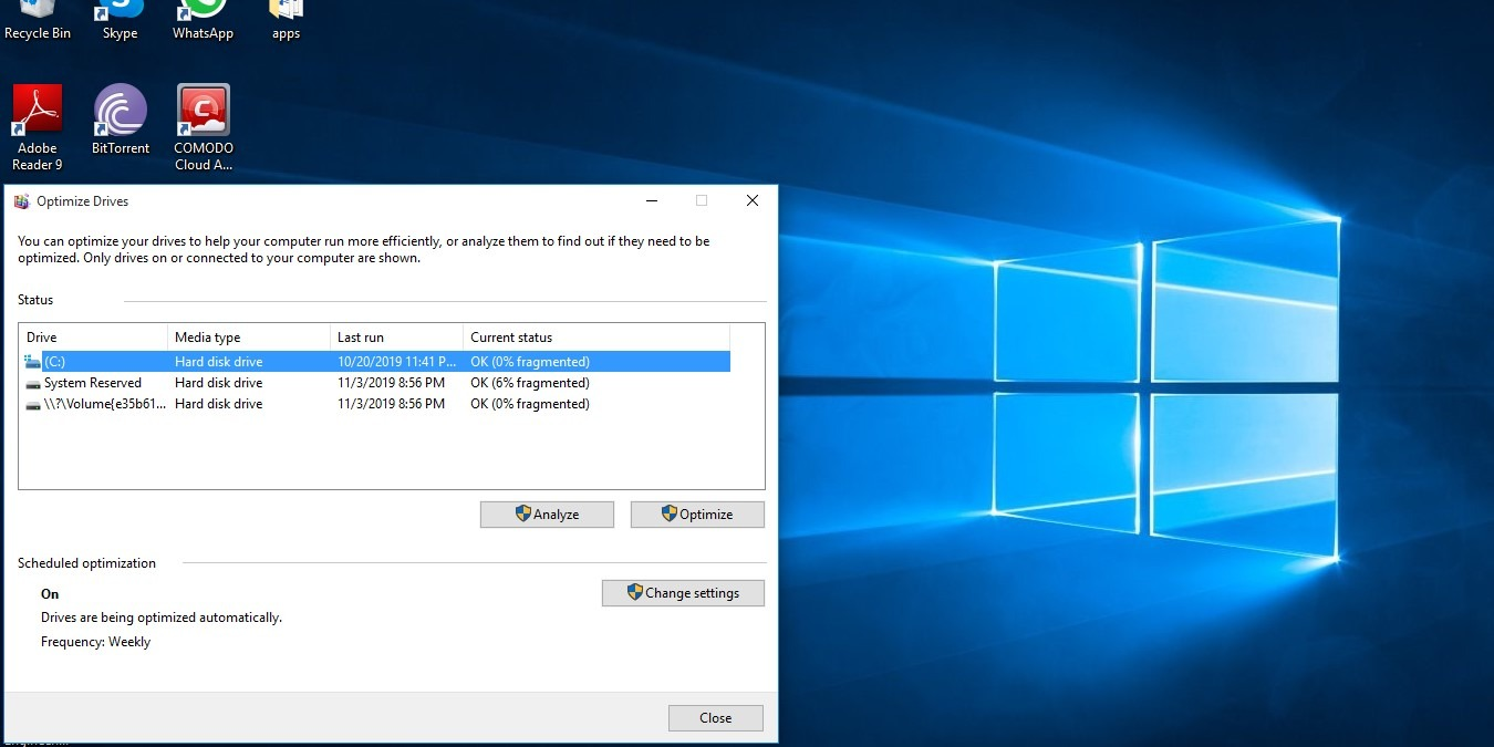 Hard drive Windows 10 Optimize Drives