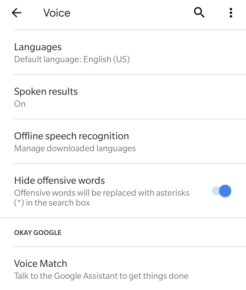 Okay Google Voice Match