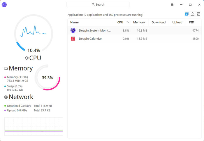 Deepin Review System Monitor