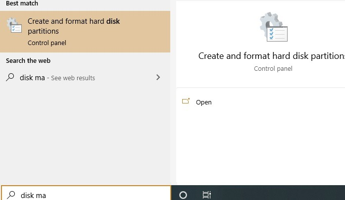 Disk Management Search Button