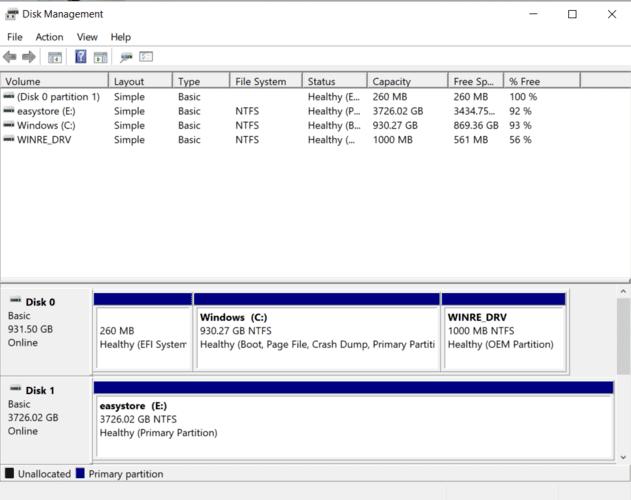 External Hard Drive Troubleshooting Disk Management Window