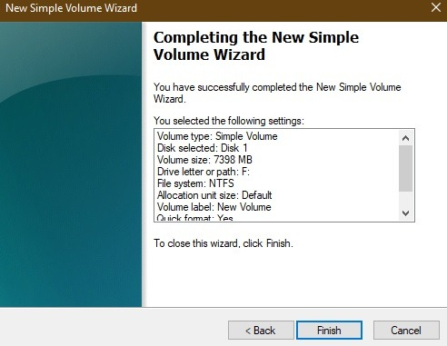 Format Simple Volume Wizard