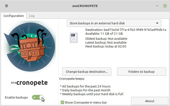 Linux Time Machine Alternatives Cronopete Main Window