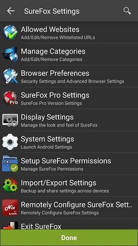 Surefox Settings Dashboard