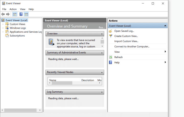 Unauthorized Users Event Viewer Window