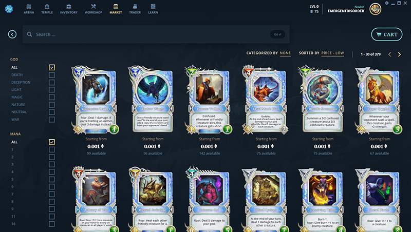 Blockchain Game Gods Unchained Cards