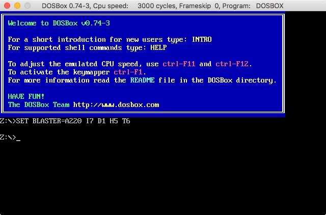 Dosbox Opening Screen User Interface