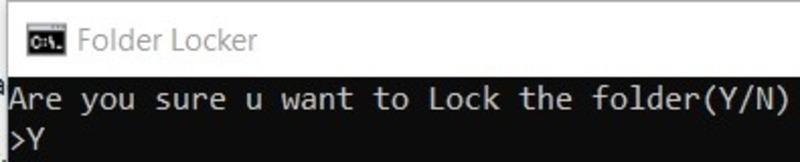 Folder Lock Confirmation Messa