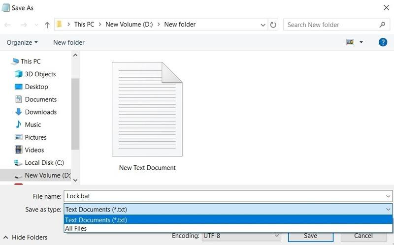 Folder Lock Save As Bat