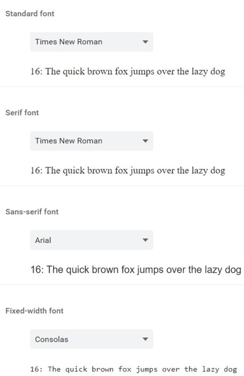 Font Customization Choices