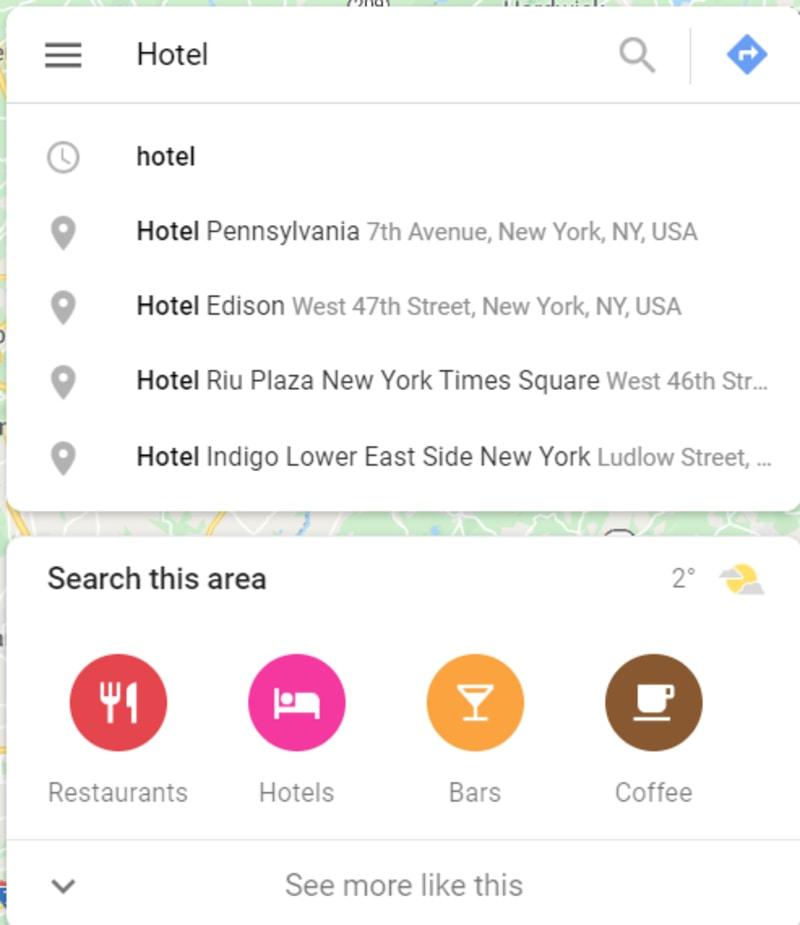 Google Maps Hotel List