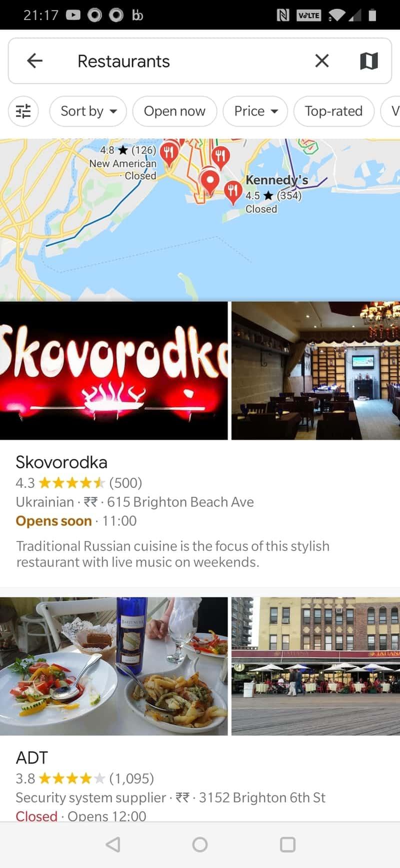 Google Maps Restaurants List