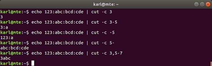 Linux Text Tools Cut Char