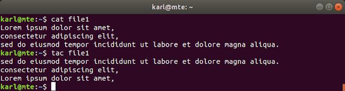 Linux Text Tools Tac
