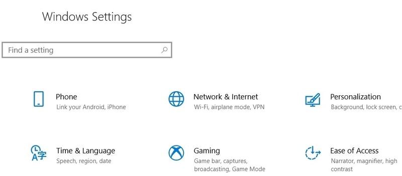 Windows Keyboard Settings Page