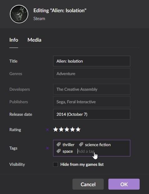Gog Galaxy 2 Multiplatform Gaming Game Editing Panel