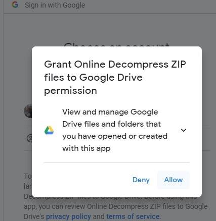 Grant Online Decompress Zip Files To Google Drive Permission