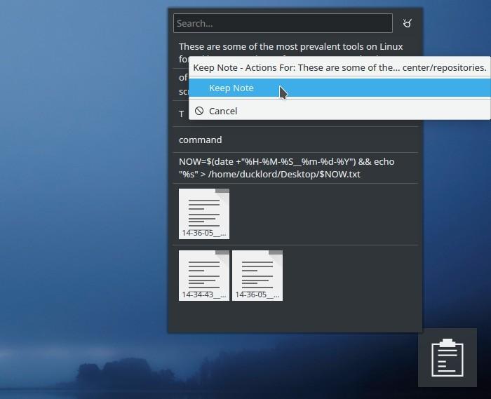 Kde Clipboard Widget Txt Notes User Action