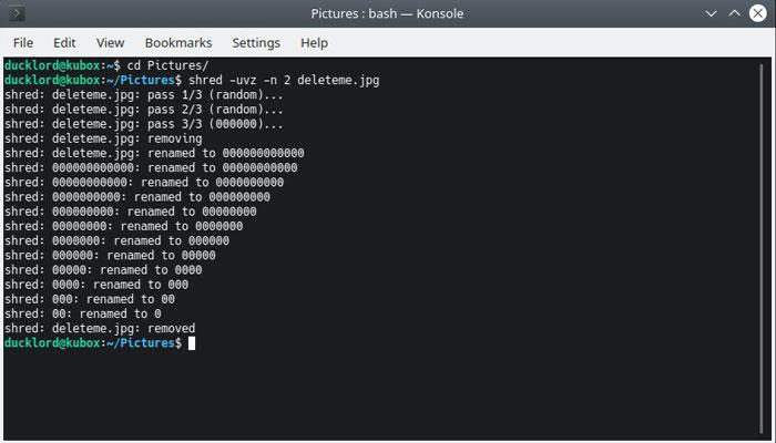 Linux File Delete Shred