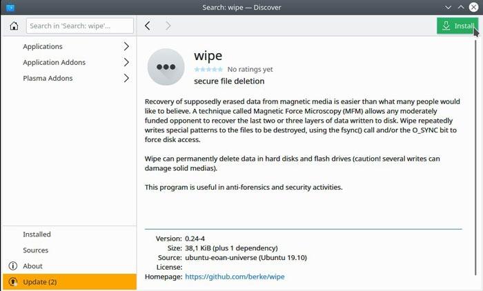 Linux File Delete Wipe Install