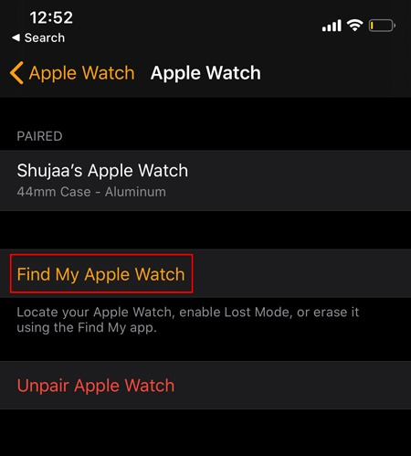 Locate Apple Watch Find Watch