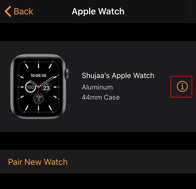 Locate Apple Watch Watch App Info
