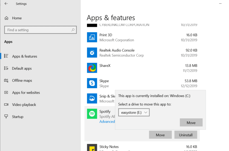 Moving Windows Programs Apps Settings Select Drive