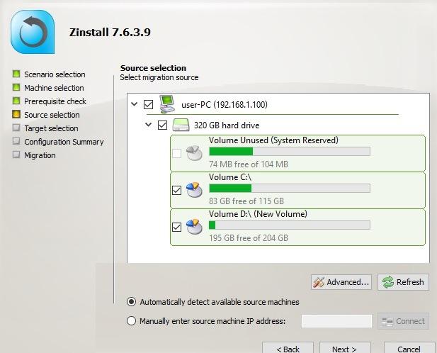 Zinstall Migration Source Selection At Target Computer