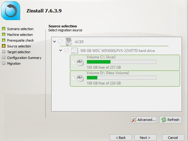 Zinstall Select Migration Source User Profile