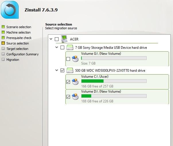 Zinstall Select Source