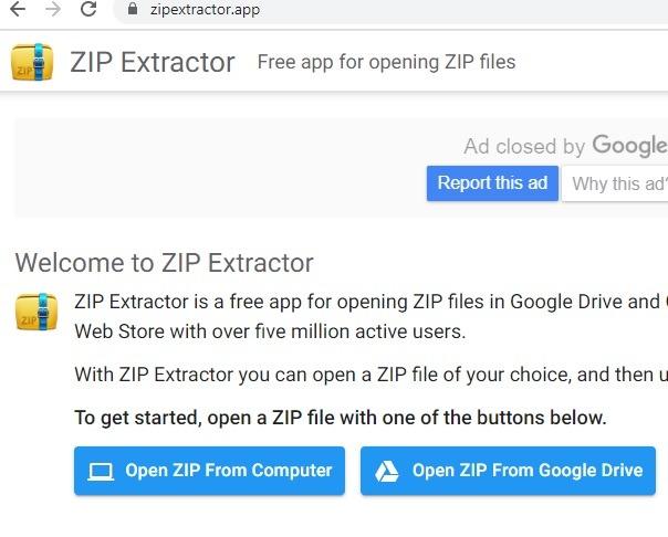 Zip Extractor Homescreen