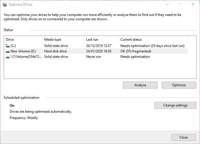تحقق من صحة القرص الصلب Windows Optimize Defrag