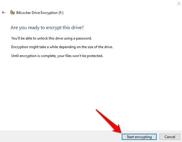 Encrypt Usb Drive Windows 10 Drive Bitlocker Start Encrypting