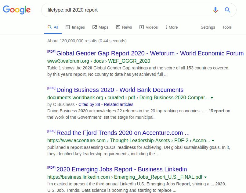 Google Search Filetype Operator