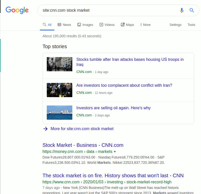 Google Search Site Operator