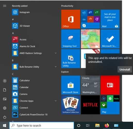 إزالة Bloatware Windows انقر فوق إلغاء التثبيت