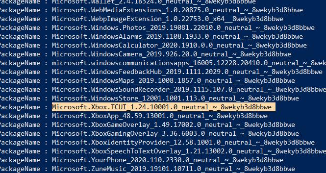 إزالة Bloatware Windows Copy Packagename