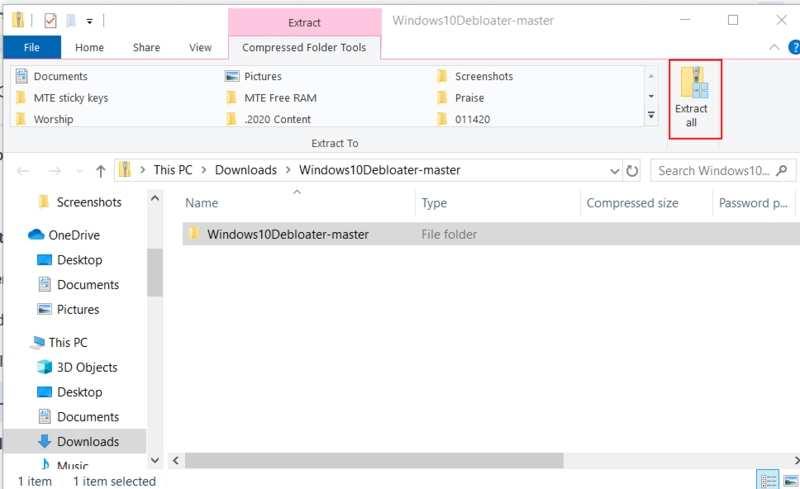 قم بإزالة Bloatware Windows Extract All