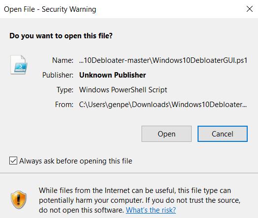 قم بإزالة Bloatware Windows Open File