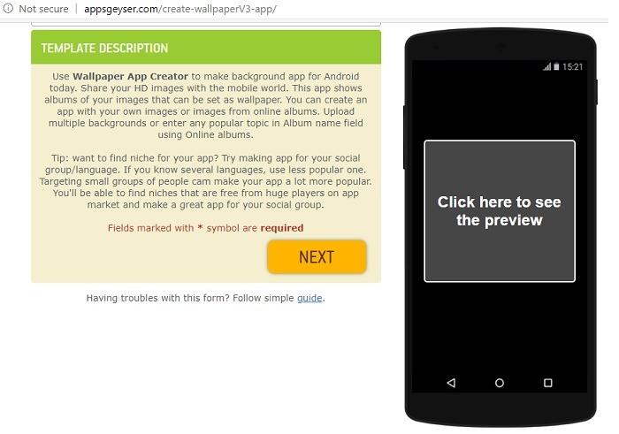 قالب تطبيقات خلفيات Appsgeyser