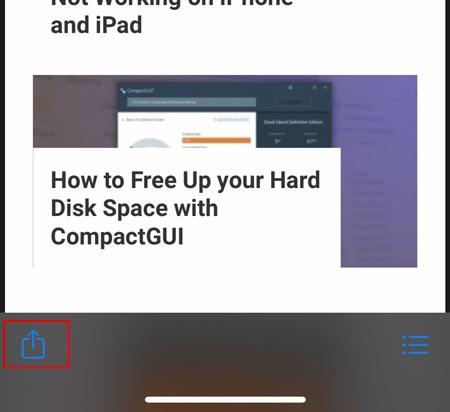 لقطة شاشة كاملة الشاشة Ios Share Button