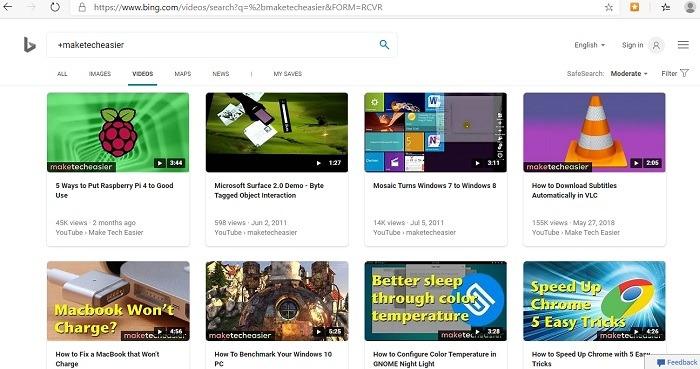 Bing أفضل من الصور المصغرة لفيديو Google