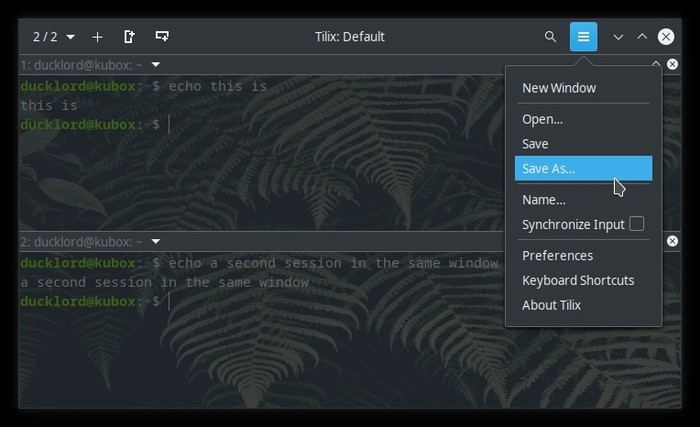 Upgraded Terminal With Tilix Save Session As