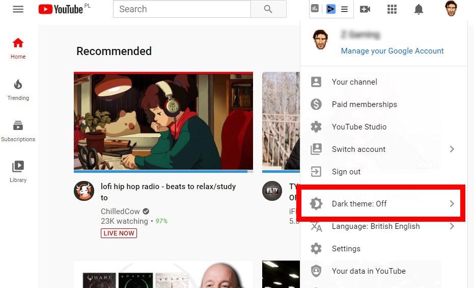 تمكين وضع الظلام Youtube Dark Theme